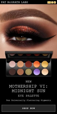 Recreate this seductive copper cateye makeup look with PAT McGRATH LABS *new* MOTHERSHIP VI: Midnight Sun Eyeshadow Palette. 10 universally flattering shades, from silky mattes, major metallics, and sublime glitter pigments. Get the look at PATMcGRATH. Beautiful Eye Makeup, Flawless Makeup, Love Makeup, Makeup Inspo, Makeup Inspiration, Makeup Trends, Cat Eye Makeup, Eyeshadow Makeup, Hair Makeup
