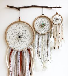 """Bohemian Dream Catcher, Earth Tones, 3"""" 5"""" 8"""", Wall Decor, Feathers, Beads, Lace, Boho, Unique, Gypsy, Room Decor, Wall Hanging, Car Mirror"""