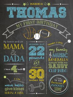 "Custom chalkboard style boys first birthday sports poster. Digital file or 18 x 24"" Printed on board, includes high res digital file. https://www.etsy.com/shop/ChalkDustDesign"