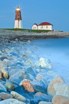 This famous Point Judith Lighthouse welcomes visitors along Narragansett Bay.