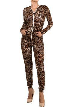 ca487c5c060 Staand Apparel Women s One Piece Onesies Leopard Catsuit Cheetah Tiger  Print Jumpsuit Bodysuit Outfit Costume W