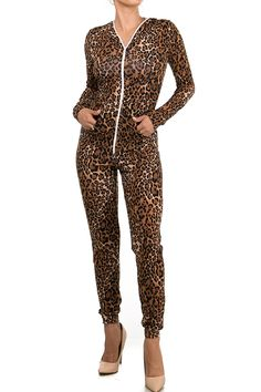 Staand Apparel Women's One Piece Onesies Leopard Catsuit Cheetah Tiger Print Jumpsuit Bodysuit Outfit Costume W/ Front Zipper and Hooded Hoodie For Parties and Social Gatherings * Find out more about the great product at the image link.