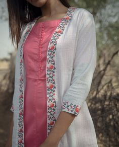 Peach Solid Inner With White Lurex Cape with Embroidery : Peach Solid Inner With White Lurex Cape with Embroidery Neck Designs For Suits, Dress Neck Designs, Designs For Dresses, Blouse Designs, Churidar Designs, Kurta Designs Women, Kurta Neck Design, Kurti Sleeves Design, Kurti Embroidery Design