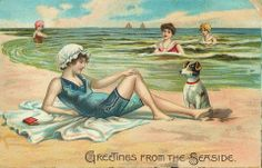 Shop Vintage Victorian Beach Postcard created by RetroMagicShop. Vintage Cards, Vintage Postcards, Vintage Images, Vintage Labels, Vintage Ephemera, Vintage Pictures, Vintage Sewing, Decoupage, Retro Gifts