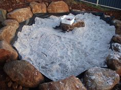 making a sandpit backyard -- or if you dont have enough rocks, doing a sand pit. Outdoor Play Spaces, Kids Outdoor Play, Outdoor Learning, Backyard For Kids, Outdoor Fun, Outdoor Ideas, Backyard Ideas, Kids Yard, Rustic Backyard