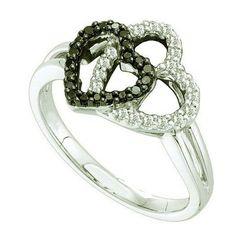 Thanks for Sharing!  0.27 Carat (ctw) 14k White Gold Round Black & White Diamond Ladies Double Heart Promise Ring - Dazzling Rock #https://www.pinterest.com/dazzlingrock/