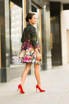 Floral-print Lightweight Faille Swing Coat