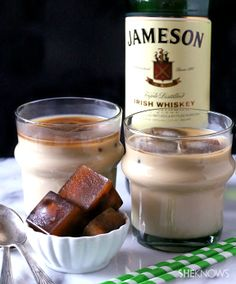 Freeze coffee cubes for iced coffee drinks and Baileys!