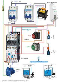 Esquemas eléctricos: Arranque de motor bomba monofásica con marcha y pa...