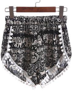 Black Elastic Waist Random Print Pom Pom Shorts
