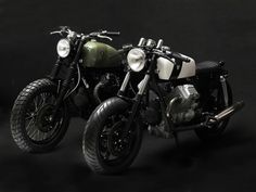 Bike : Classic transformation of 80s Moto Guzzi 750 cc the Tractor V75(green) and the Corsaiola (white) by Stefano Venier NYC, Brooklyn's garage