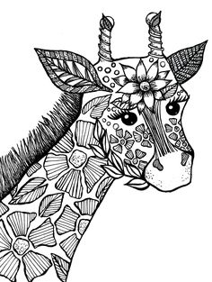 giraffe adult coloring book page - Coloring Pages Adult