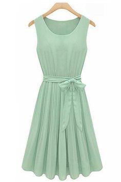 Light Green Sleeveless Chiffon Dress