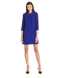 Vince Camuto Women's Long Sleeve Shift with Beaded Collar Dress  Long sleeve collared shift dress Jeweled collar Jeweled collar Invisible zipper at center back  http://www.artydress.com/vince-camuto-womens-long-sleeve-shift-with-beaded-collar-dress/