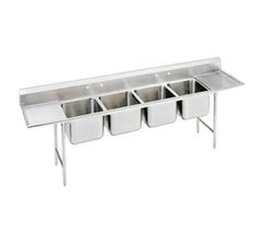 """Advance Tabco Regaline Sink four Cmpt. 20"""" - 94-24-80-36RL    Regaline Sink, four compartment, w/left & right-hand drainboards, 20"""" front-to-back x 20"""" W compartment, 14"""" deep, with 11"""" high splash, s/s open frame base, boxed crossrails, 36"""" drainboards, s/s bullet feet, 14/304 stainless steel, overall 27"""" F/B x 162"""" L/R"""