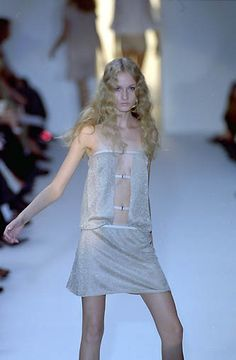 Strenesse | Spring 2000 Ready-to-Wear | 86 Nude sequined strapless mini dress