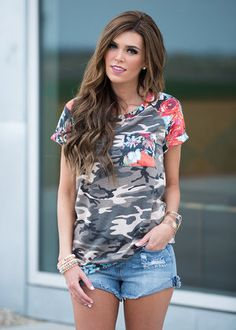 Camo and Florals Tee