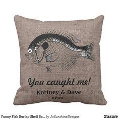 Funny Fish Burlap Shell Beach Bum Back Indoor Pill Throw Pillow Burlap Pillows, Custom Pillows, Throw Pillows, Funny Fish, Shell Beach, Fishing Humor, Beach Bum, Cool Gifts, Mall
