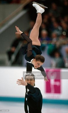 Sergei Grinkov and Ekaterina Gordeeva of Russia performing in the pairs skating event during the Winter Olympic Games in Lillehammer, Norway, circa February 1994.