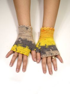 Gray and yellow shades wristwarmers by TinyOrchidsCrochet on Etsy