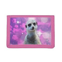 #meerkat with sparkle pink trifold #wallet