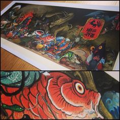 """Thanks for the orders will be shipped monday Tuesday, Print """"Hyakki Yakō"""" night parade of 100 demons. is available print in exclusive watercolor paper 190gr. 83 x 37 cm Limited of 50 copies 110 € free shipping Original full size 130 x 58 cm Print in kthe exclusive hahnemuhle 310 gr paper Only 15 copies 300€ free shipping"""