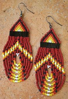 fire path beaded native american earrings