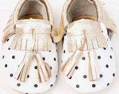 ORO mocasines de flecos de cuero mocasines bebé por BoutiqueOshop