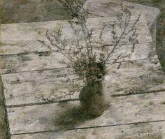 Evgeny Kravtsov(Евгений КРАВЦОВ Russian, b.1965)  стол, кувшин, сухая трава(table, a pitcher, dry grass)2003 via