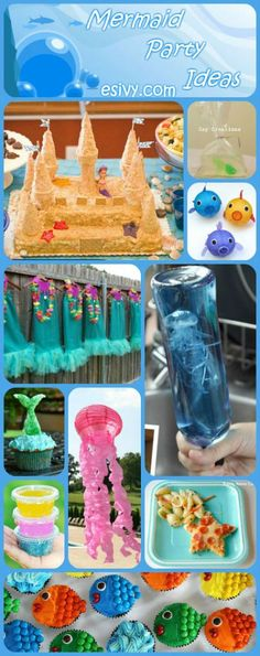 These are some great ideas for a colorful mermaid themed girls party! Food, decorations, activities, and crafts to make a super fun party. The sandcastle cake looks very easy and doable! Just like mak Little Mermaid Birthday, Little Mermaid Parties, Girl Birthday, Cake Birthday, Husband Birthday, Princess Birthday, Birthday Diy, Mermaid Party Games, Mermaid Tails For Kids