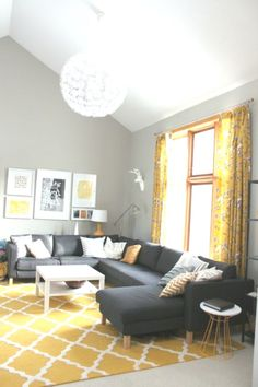 Gorgeous Gray and Yellow Living Room with Large Couch Living Room Plan, Living Room Themes, Small Living Room Design, Living Room Furniture Layout, Living Room Designs, Grey And Yellow Living Room, Beige Living Rooms, Living Room Carpet, Room Layouts