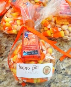 A Fall Treat Bag- candy corn, sea salt, nuts, & a bath & body mini hand sanitizer. Cute!