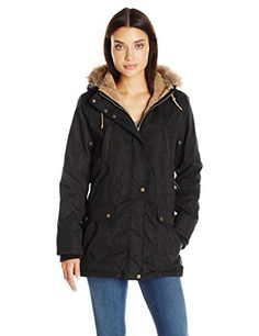 Details Womens Anorak Parka Coat with Faux Fur Trimmed Hood Black Small >>> You can get more details by clicking on the image.