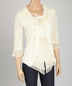 Look what I found on #zulily! Caramel Embroidered Linen-Blend Top #zulilyfinds