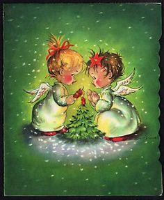 Artist-signed-Eve-Rockwell-vintage-40s-50s-Cherrie-Cherubs-Christmas-card