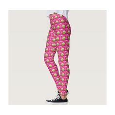 Pink and Green Sweet Cupcakes Leggings (125 BAM) ❤ liked on Polyvore featuring pants, leggings, pink pants, legging pants, pink trousers, green leggings and pink leggings