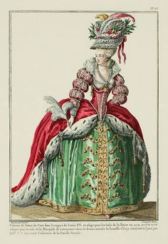 This fashion plate depicts a Court Lady's Costume during the reign of Louis XVI at theQueens Ball representing a character from a play called the Battle of Ivry of (1774-1776)