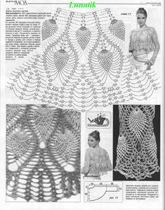 crocheted fashion for women: crochet magazine free crochet patterns 2 Crochet Woman, Love Crochet, Crochet Lace, Russian Crochet, Irish Crochet, Pineapple Crochet, Crochet Shirt, Crochet Magazine, Crochet Diagram