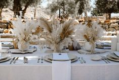 A beautiful, laid-back Mediterranean wedding inspiration shoot from Greece filled with dreamy boho details and styling ideas Modern Wedding Centerpieces, Floral Wedding Decorations, Wedding Table Flowers, Mediterranean Wedding, Destination Wedding Inspiration, Greece Wedding, Dried Flowers, A Team, Wedding Couples