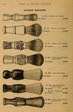 Illustrated Catalogue Of Barbers' - Shaving Brushes Page Village Barber, Barber Logo, Barber Poster, Shaved Hair Cuts, Barber Shop Decor, Barber Shop Vintage, Style Hipster, Straight Razor Shaving, Barbershop Design