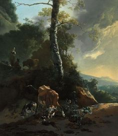 Landscape with Enraged Ox by Adam Pynacker