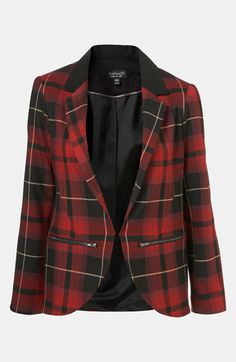 Topshop Tartan Blazer available at #Nordstrom