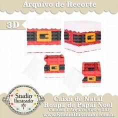 Caixa de Natal Roupa de Papai Noel, Christmas Clothing Santa Box, Christmas, Natal, Navidad, Gift, Presente, Silhouette, 3d, 3d Model, 3d Project, 3d Design, Sacola, Sacolinha, 3d, Modelo 3d, Projeto 3d, Proyecto 3d, Diseño 3d, Cuadro, Modelo 3d, Diseño 3d, SVG, DXF, PNG