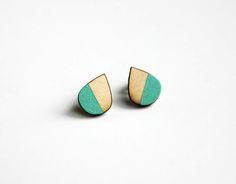 Diy Earrings Studs, Wooden Earrings, Ear Studs, Leather Earrings, Drop Earrings, Business Ideas, Gifts For Her, Hand Painted, Craft Ideas
