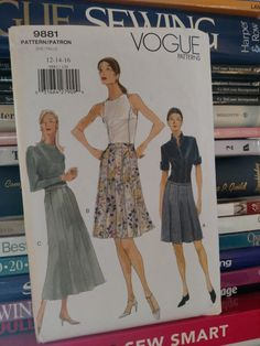 1998 Vogue Pattern 9881--Misses' Slightly Flared/Flared-Skirt-Above Mid-Knee & Above Ankle-Pleats-Lined-Gored-Variations-Sz 12-14-16 UNCUT by PaperDiversities on Etsy