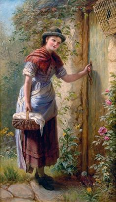 Jane Maria Bowkett ~ Young Woman at a Cottage Door Cottage Art, Painted Cottage, Cottage Door, Farmer Painting, Charles Edward, John William Godward, Knight Art, English Artists, Classic Paintings