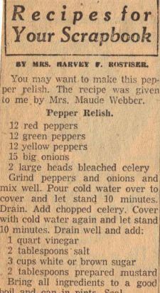 Pepper Relish Recipe – Vintage Clipping
