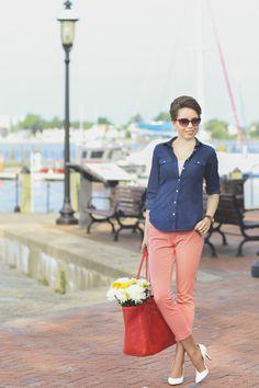 waterside | fabrizio gianni jeans, fabrizio gianni tote bag, nine west pumps, loft chambray shirt, jord wood watch, http://redreticule.com