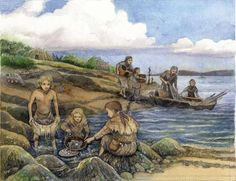 Resource gathering in Mesolithic Orkney, from reading The Gathering Night by Margaret Elphinstone - (2009)