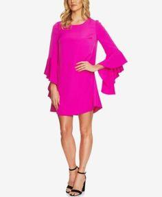 CeCe Ruffled Bell-Sleeve Dress - Pink 14